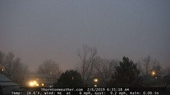 February 6, 2019 - A foggy start to the day. (ThorntonWeather.com)