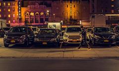 New York (KennardP) Tags: newyork newyorkcity manhattan canoneosr sigma50mmf14dghsmart sigmaartlens cityatnight nightlights nightphotography cars parkinglot people buildings apartments