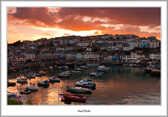 Sun Setting Over Brixham Town (flatfoot471) Tags: 2016 boats brixham church devon dusk england fishing goldenhindreplica harbour holiday july landscape normal ships summer sunset twilight unitedkingdom 18125sigma
