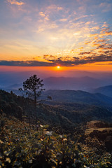 Sunset (rachenbuosa) Tags: sunset mountain background nature sky vector red orange colorful sunrise silhouette panorama forest peaks gradient view dramatic color landscape yellow purple outdoors mountains bright travel