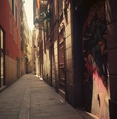 sun beam (davidgarciadorado) Tags: street sun beam evening shadow 120 film medium format 6x6 portra rolleiflex tlr zeissplanar barcelona spain