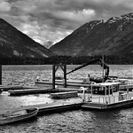 Boats Docked on Lake Chelan...and a Mountain Backdrop (Black & White, North Cascades National Park Service Complex) thumbnail