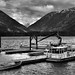 Boats Docked on Lake Chelan...and a Mountain Backdrop (Black & White, North Cascades National Park Service Complex)