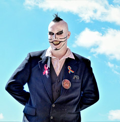 There are giants in the sky... (sharon'soutlook) Tags: man male sky giant costume hair suit makeup fangs blueskies clouds horrorhoundweekend 2019 portrait