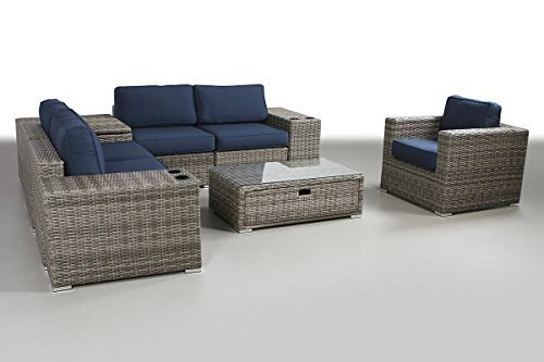 Cheap Patio Furniture Sunbrella Cushion | PE Rattan Outdoor Wicker Sectional Conversation Black Washable Seat Cushions & Glass Coffee Table | Patio, Backyard, Antibes Collection (9 Piece Coffee Table)
