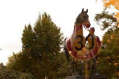 Endspurt (maywind72) Tags: bremen doppeltbelichtung farbfilter fotomarathon kunst mehrfachbelichtung pferd rost skulptur säugetier tier