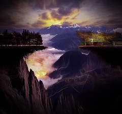 Night On High (jarr1520) Tags: night sunset mountains sky clouds valley composite textured house lights forest fog mist trees rocks