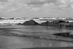Sea and Rocks (SKAC32) Tags: canonef2470mmf4lisusm bude cornwall swengland bristolchannel atlanticocean rocks beach blackwhite monochrome bw bluesky