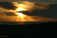 3KA12390a_C_2019-01-30 (Kernowfile) Tags: pentax cornish cornwall tincoast capecornwall scillyisles grass gorse hills sea water reflections sun sunlight sunset clouds sky crepuscularrays pentaxforums