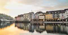 Famous river promenade of old town at sunset (phuong.sg@gmail.com) Tags: beautiful blue building church city culture destination editorial europe famous hotels lake lakeside landscape leodegar light lucern lucerne luchsinger luxury luzern medieval mirror outdoor promenade quay reflection see sky summer sunset swiss switzerland top tourism tower town travel twilight typical water