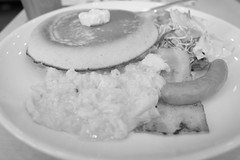 breakfast pancake scramble egg, bacon, sausage RICOH GR 26 (HAMACHI!) Tags: tokyo 2019 japan ricoh ricohgriii ricohimaging ricohgr gr gr3 griii loadtest cameratest monochrome blackandwhite shibuya breakfast pancake scrambleegg