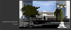 Modernismo valenciano  (Serie: Joyas de Valencia) (Amparo Higón) Tags: arquitecturamodernista valencia comunidadvalenciana joyas digitalart digitalpainting modernart artemoderno kunst modernekunst amparohigón coreldraw cieloazul blusky edificios buildings