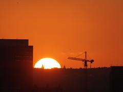 Half of a burning sun (seikinsou) Tags: brussels belgium bruxelles belgique summer series sunset crane midsummer dusk skyline sky cloud