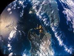 Full Mir over New Zealand, from the space shuttle Atlantis, Russia's Mir Space Station. Original from NASA. Digitally enhanced by rawpixel