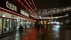 City lights (Steenjep) Tags: herning jylland jutland danmark denmark aften nat lys light street gade night bibliotek cafe sign skilt