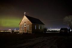 St Thomas Anglican night (John Andersen (JPAndersen images)) Tags: alberta church farm mossleigh night sky stars train
