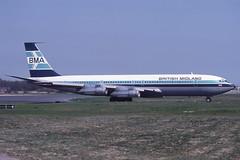G-BMAZ Gatwick 23-4-1984 (Plane Buddy) Tags: gbmaz boeing 707 britishmidland lgw gatwick