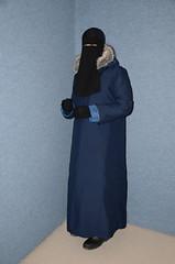 Warm Coat (Warm Clothes Fetish) Tags: maid slave girl torture hot winter fur fleece coots sweat niqab hijab apron coat