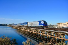 Sunny Afternoon Recharge (MikeArmstrong) Tags: amtrak trains fall november wooden trestle pacific surfliner ocean railroad del mar fairgrounds