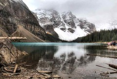 Moraine Lake with a clouded view of the Ten Peaks over the lake (PhotosToArtByMike) Tags: morainelake banff banffnationalpark tenpeaks valleyofthetenpeaks canadianrockies albertacanada mountain mountains emeraldlake bluegreen turquoisecoloredwater morainelakelodge
