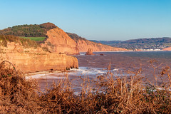 Devon red sandstone cliffs (Keith now in Wiltshire) Tags: sea devon coast red sandstone cliff landscape sidmouth hill forest bracken autumn windy surf water churnedup rough outdoor bay