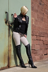 Tabea 28 (The Booted Cat) Tags: sexy blonde hair model girl smoking cigarette leather jacket boots overkneeboots belt