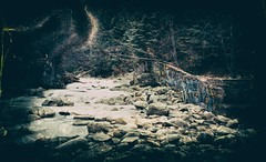 Ice On The Water (Crusty Da Klown) Tags: creek water ice wall graffiti rocks trees bc canada canon kodak expired film