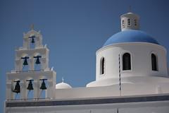 The bells of Fira / Камбаните във Фира (mitko_denev) Tags: greece aegean islands гърция острови santorini fira thera blue dome church санторини църва купол