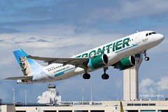 Frontier Airlines, Airbus A320 Neo, N337FR departure via runway 10 at TJSJ, Hunter the Bobcat Livery. (Angel Moreno Photography) Tags: puertorico sanjuan a320 airbus planespotter plane airplane airport frontier