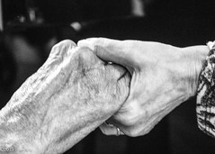 Support and Love through the Lifespan (marylea) Tags: 2015 hands katherine aging blackandwhite blackwhite bw oct13 birthday bernadine birthdayparty katherines109thbirthday celebration 109th 109yearsold friendship caring connections hand