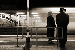 Hat man waits at Denmark Hill (Luke Agbaimoni (last rounds)) Tags: london londonunderground londontube train transportforlondon blackandwhite streetphotography