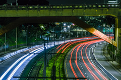 richland avenue bridge (pbo31) Tags: bayarea california nikon d810 color january 2019 boury pbo31 black night dark sanfrancisco city urban lightstream motion traffic roadway over infinity muni track bridge green