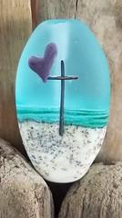 Focal Bead Lampworked by Jennifer Jennings (Florida) (diamondboa) Tags: focalbead bead glass lampworked handmade religious cross heart spiritual