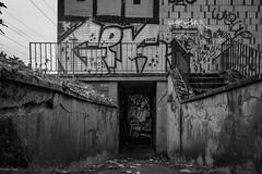 Lost Placees... (hobbit68) Tags: fujifilm xt2 tür door blackwhite schwarzweis monochrom monochrome geländer graffiti treppe steps stufen frankfurt ostpark