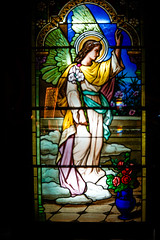 Stained glass window (judy dean) Tags: 2018 france summer judydean holiday lensbaby stainedglass window museum angel