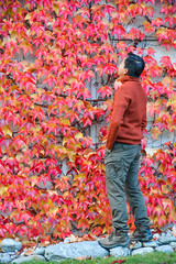 A man seeing autumn leaves (phuong.sg@gmail.com) Tags: adult asian autumn back background beard beauty coat cold concept enjoy face fall garden guy happy hipster ivy leaf leaves lifestyle macho male man masculine masculinity mountain natural nature outdoor park pose posing red romantic season smile smiling swiss time tree unshaven weather winter young