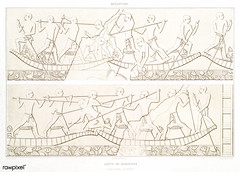 Joust of Sailors from Histoire de l'art égyptien (1878) by Émile Prisse d'Avennes (1807-1879). Digitally enhanced by rawpixel. (Free Public Domain Illustrations by rawpixel) Tags: otherkeywords anillustrationoftheegyptian ancient ancientegyptian ancientegyptianart antique archaeological archeology architecturalsketch barbers carving cc0 design drawing dynasty egypt egyptian egyptology empire funerarypriests gods handdrawn histoiredelartégyptien historical history illustration joust joustinginboats manicurists mastaba mythology necropolis old outlines outlinesfromtheantique pattern pharao psd pyramidofunas romans sailor sailorsjoust saqqaranecropolis sculpture sepia sketch story tombofthehairdressers tomboftwobrothers traditional vintage worship émileprissedavennes