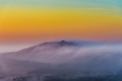 Magic Brittany (yann2649) Tags: finistere montdarrée yeunelez morning fog foggy stmichel celtic brittany mysterious sunset brume orange bleu bretagne france europe chapelle church montagne brouillard