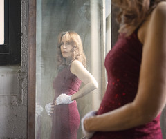 Lady in Red (marylee.agnew) Tags: mirror red hair self woman dress glamour looking people portrait