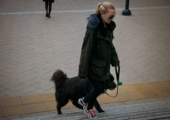 The lady with the dog (Мaistora) Tags: lady woman female girl dog dogwalk walk walking steps stairs city urban hurry stride pace cold frosty cloudy wet life lifestyle canarywharf docklands london england britain uk leica dlux typ109 lightroom color colour colours subtle subdued grey day ambiance edit process postprocess look feel film analogue retro vintage