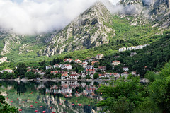Morning Mist over the Mountains (Jocelyn777) Tags: landscapes seascapes water mountains clouds mist fog reflections waterreflections bayofkotor monenegro balkans travel villages towns foliage trees