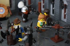 CCC XVI: Dwarven Axe Training (-soccerkid6) Tags: lego moc creation model interior ccc xvi colossal castle contest medieval dwarves dwarven axe training scene wall floor build mitgardian mitgardia