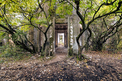 Janua Inferi (Midnight - Digital) Tags: lost forgotten gate forest architecture ruins ancient mood trees exploration