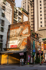 Two-Up Two-Down (Michael Goldrei (microsketch)) Tags: 2018 autumn women asia street city two roc oct fuji far brickwork photo mp herbst dusk documentary urban 240 summilux formosa leicalovers 14 demolished sunny ghost missing 35 taipei standing 35mm china set photographer st north photography bricks wall october east leicacamera taiwan asph bright sun leicam capital mp240 twins sunset brick okt leicamtyp240 18 down photos northern torn leica typ240 oktober republic typ