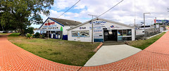 Red Spot Boatshed & Fishermans Wharf former home of Forster Dive Centre and Quest Tours, Forster, NSW, Australia (Black Diamond Images) Tags: australia nsw forster questtours redspotboatshed forsterdivecentre panorama iphonepanorama iphone appleiphone iphone7s appleiphone7plus iphone7plusbackdualcamera greatlakeshistory greatlakesnsw historicalgreatlakes fishermanswharf divecentre tourism greatlakestourism nswtourism iphonephotography shotoniphone