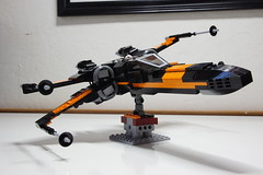 (Improved) Poe Dameron's X-wing: Combat Mode Right-Front Tilted View (Evrant) Tags: lego star wars custom x wing t70 t 70 moc bb8 poe dameron black one spaceship starship ship starfighter evrant