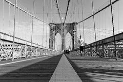 brooklines (s.f.p.) Tags: brooklyn bridge intersections lines low perspective vanishing point new york nyc architecture suspension linear upwards america usa symmetry travel urban city symmetric outdoors black and white famous place destinations connection sky built structure life construction
