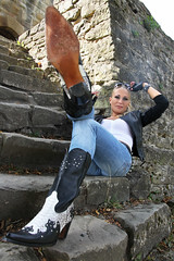 Anna 122 (The Booted Cat) Tags: sexy blonde model girl tight blue jeans leather cowboyboots cowgirl boots jacket gloves