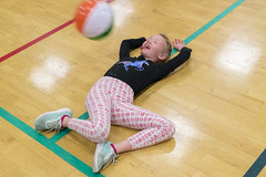 Crazy Fun at a Church Party (aaronrhawkins) Tags: church party kids children girl beach ball floor pretend funny fun maci action face hit provo utah aaronhawkins