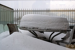 Cake, anyone ? (Poupetta) Tags: snow helsinki table chairs